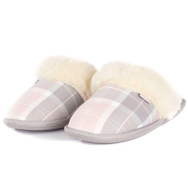BARBOUR Slippers - Ladies Lydia Mules - Pink & Grey Tartan