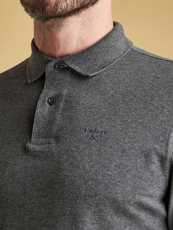 Barbour Long-Sleeved Sports Polo Slate Marl