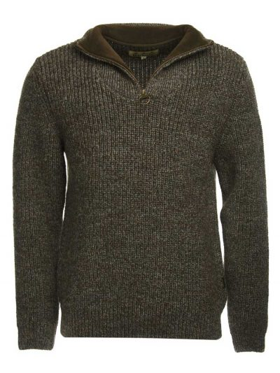 BARBOUR Jumper - Mens New Tyne Half Zip - Derby Tweed