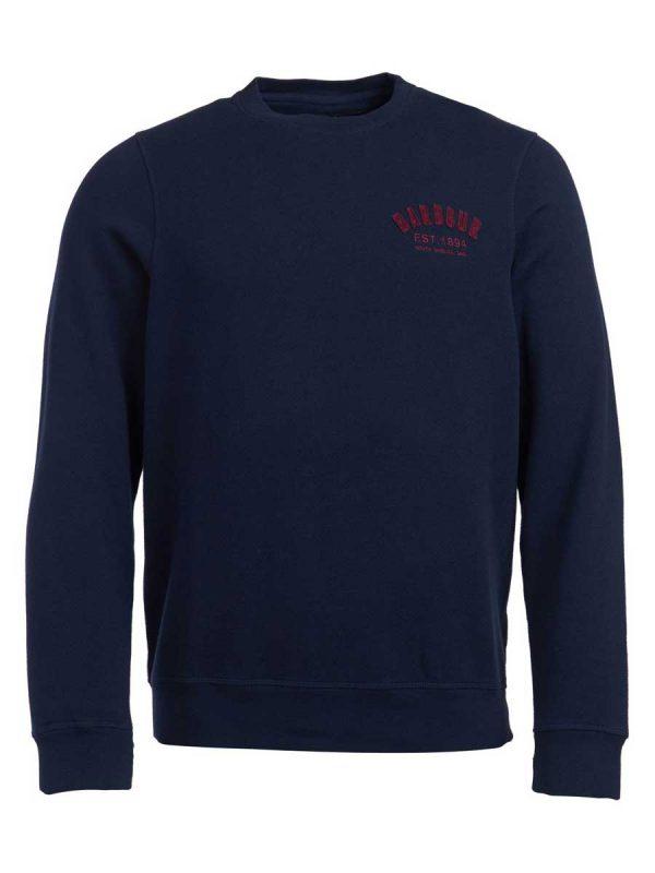 BARBOUR Sweater - Mens Preppy Crew - Navy