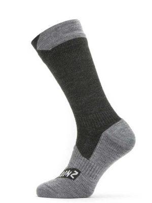 SEALSKINZ Socks - Waterproof All Weather Mid Length - Black & Grey