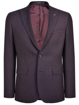 MAGEE Tweed Jacket - Mens Nice Classic Fit - Navy & Rust Geometric