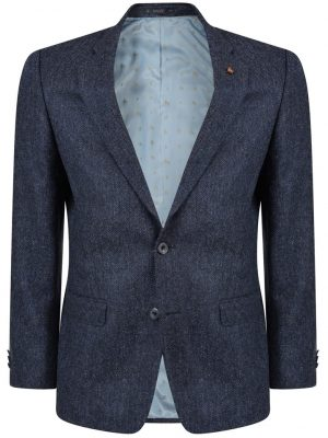 MAGEE Tweed Jacket - Mens Classic Fit - Blue Herringbone