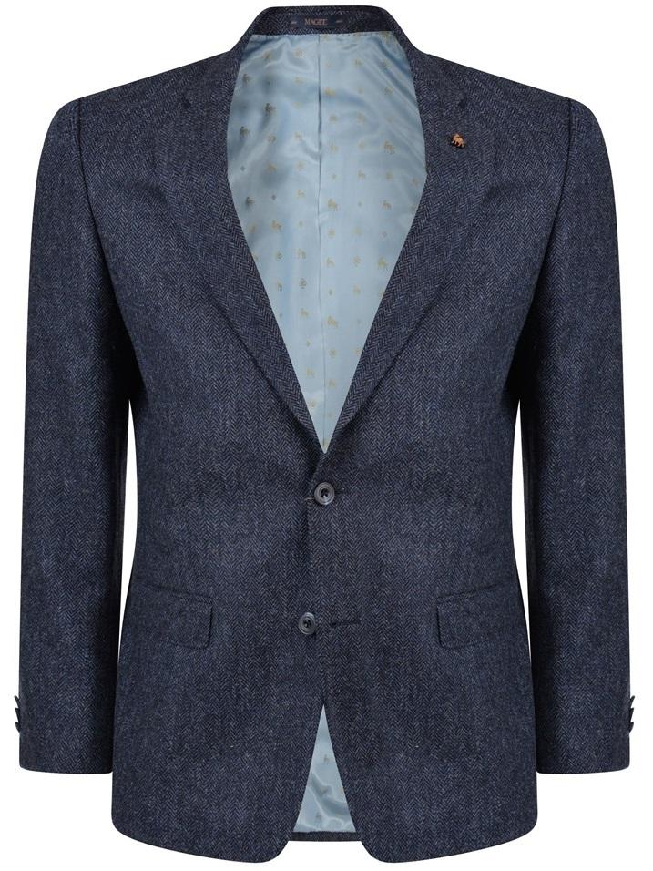 MAGEE Tweed Jacket - Mens Classic Fit - Blue Herringbone
