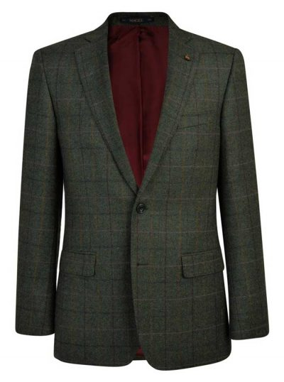 MAGEE Tweed Jacket - Mens Classic Fit - Green Herringbone Donegal Tweed
