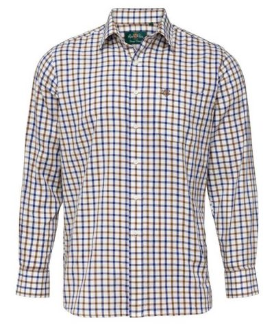 ALAN PAINE - Mens Ilkley Country Check Shirt - Brown