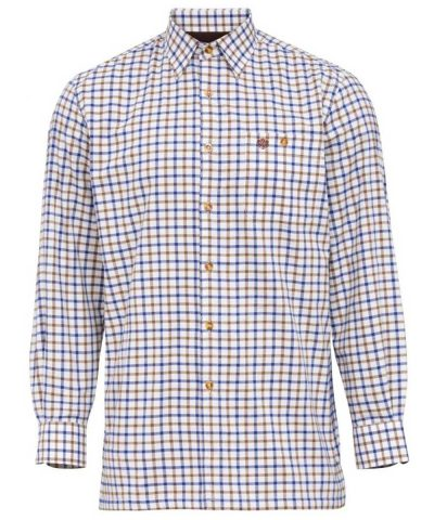 ALAN PAINE - Mens Bury Fleece Lined Country Check Shirt - Brown