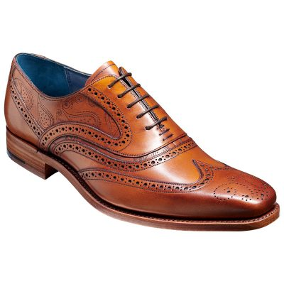 BARKER McClean Shoes - Mens Brogue - Antique Rosewood Calf & Paisley Laser