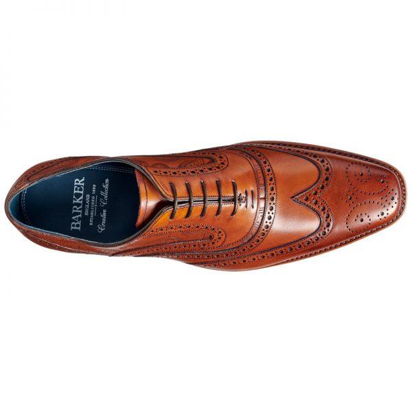 BARKER McClean Shoes - Mens Brogue - Antique Rosewood Calf & Paisley Laser