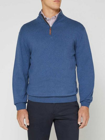 RM WILLIAMS Sweater - Men's Earnest Half Zip - Sea Blue
