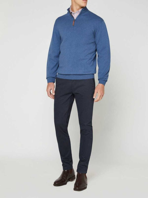 RM WILLIAMS Sweater - Men's Earnest Half Zip - Sea Blue
