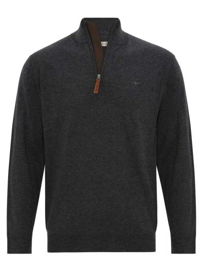 RM WILLIAMS Sweater - Men's Ernest Half Zip - Charcoal