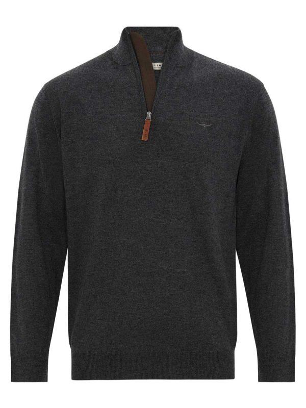 RM WILLIAMS Sweater - Men's Ernest Half Zip - Charcoal