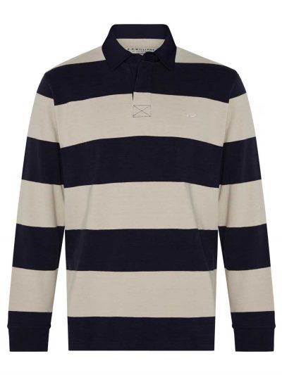 RM WILLIAMS Mens Tweedale Rugby Shirt - Navy Stripe