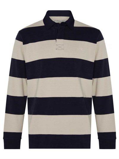 RM WILLIAMS Mens Tweedale Rugby Shirt - Navy Stripe