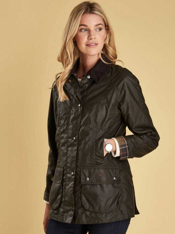 BARBOUR Wax Jacket - Ladies Classic Beadnell Sylkoil - Olive