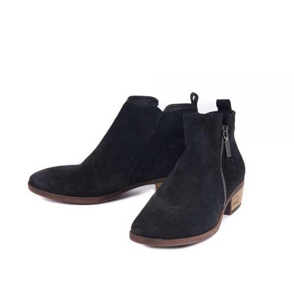 BARBOUR Boots - Ladies Una Heeled Ankle - Black Suede