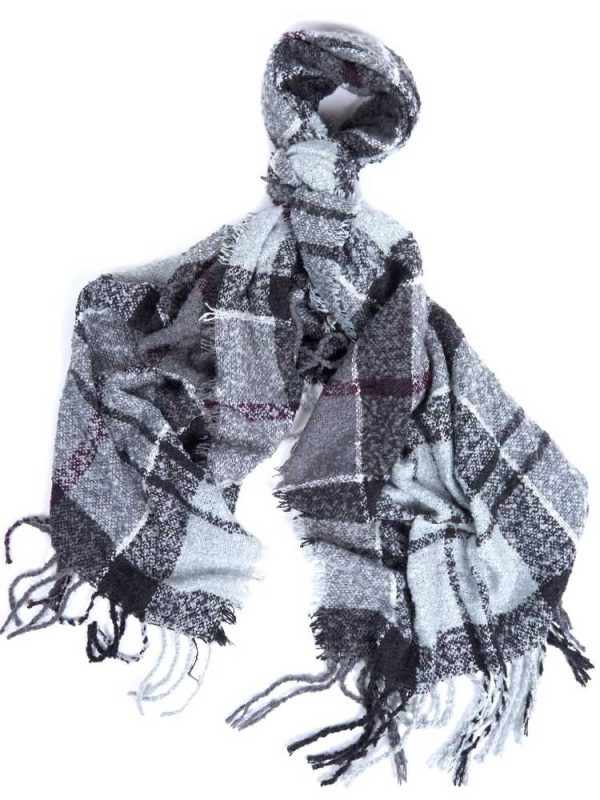 BARBOUR Scarf - Tartan Boucle Wrap - Grey Juniper