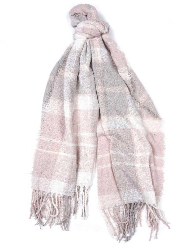 BARBOUR Scarf - Tartan Boucle Wrap - Soft Pink