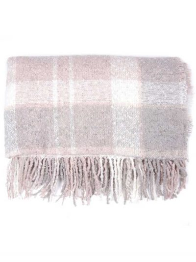 BARBOUR Scarf - Tartan Boucle Wrap - Soft Pink