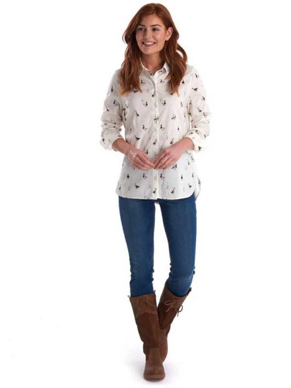 BARBOUR Shirt - Ladies Brecon Duck Print - Cloud