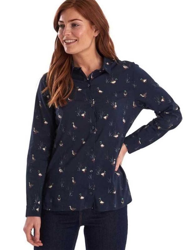 BARBOUR Shirt - Ladies Brecon Duck Print - Navy