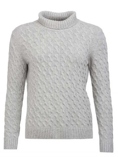BARBOUR Sweater - Burne Knitted Roll Collar - Light Grey