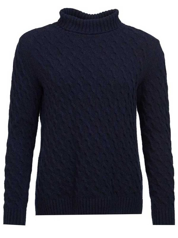 BARBOUR Sweater - Burne Knitted Roll Collar - Navy