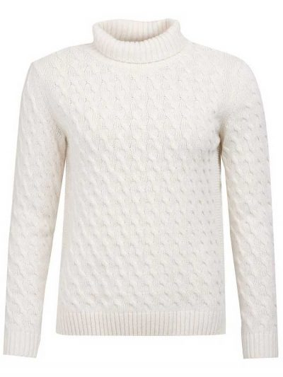BARBOUR Sweater - Burne Knitted Roll Collar - Off White