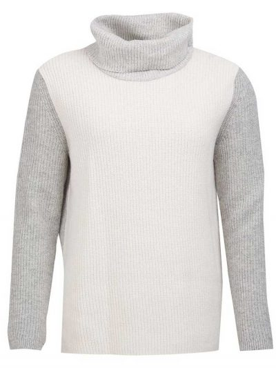 BARBOUR Sweater - Dipton Knitted Roll Collar - Cloud & Grey