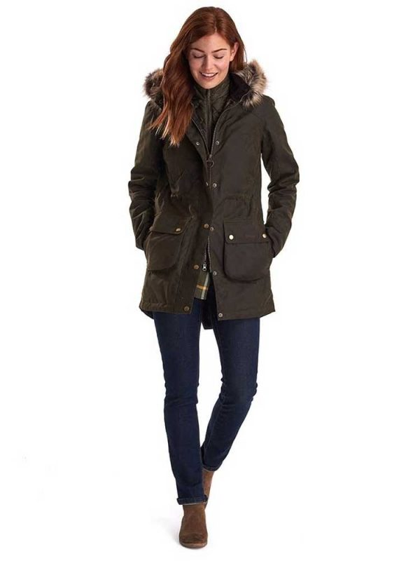 BARBOUR Wax Jacket - Ladies Thrunton Parka - Olive