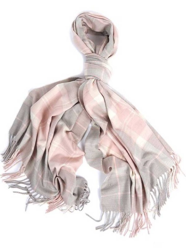 BARBOUR Wrap - Hailes Tartan - Soft Pink
