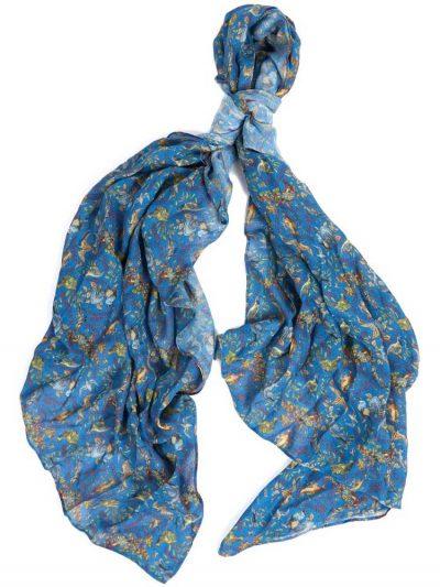 BARBOUR X Emma Bridgewater Scarf - Grouse Print - Stormy Blue