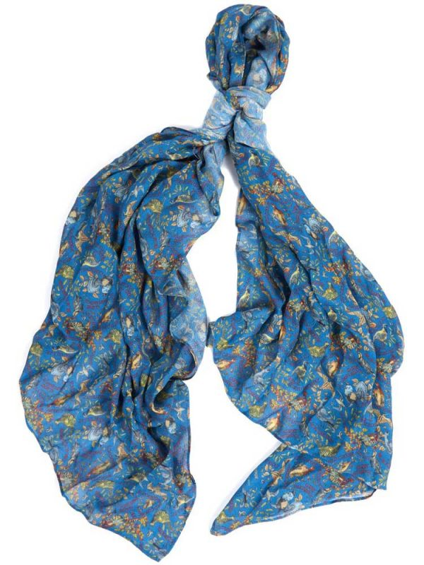 BARBOUR X Emma Bridgewater Scarf - Grouse Print - Stormy Blue
