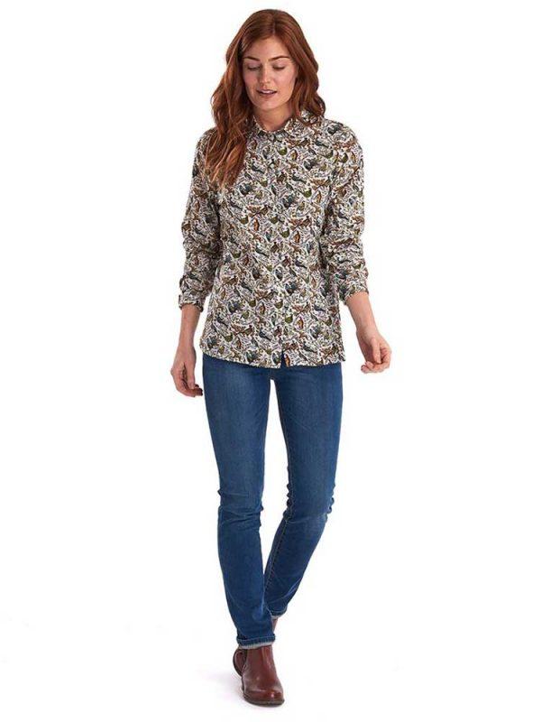 BARBOUR X Emma Bridgewater Shirt - Ladies Eleanor Game Bird Print - Cloud