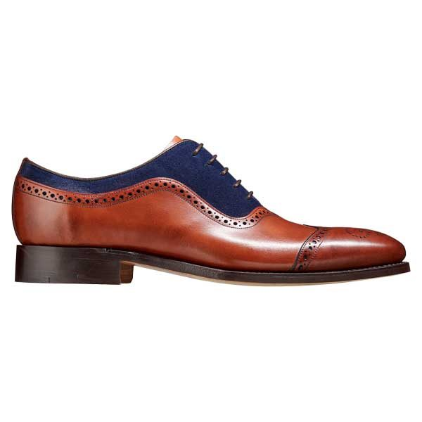 BARKER Nicholas Shoes - Mens Oxford Style - Antique Rosewood & Navy Suede