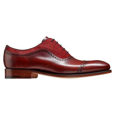 BARKER Nicholas Shoes - Mens Oxford Style - Cherry Calf & Burgunday Suede