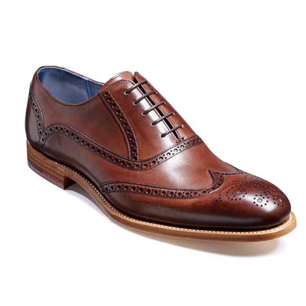 BARKER Valiant Shoes - Mens Brogue Shoes - Ebony Hand Painted