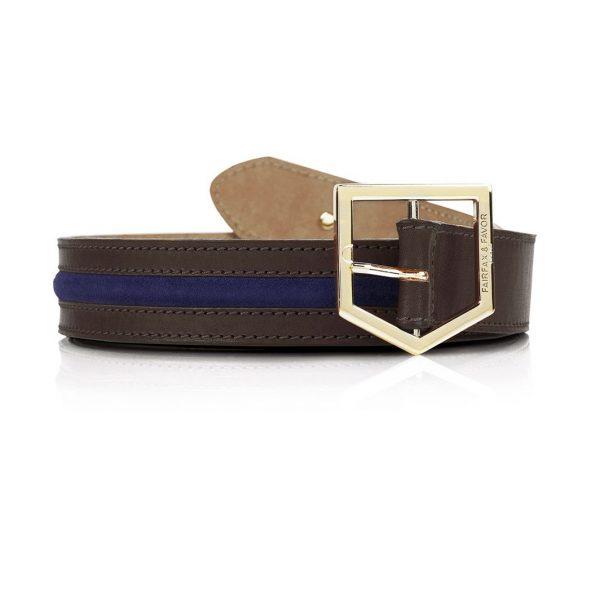 FAIRFAX & FAVOR Belt - Ladies Hampton - Chocolate Leather & Navy Suede