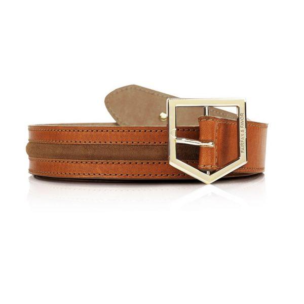 FAIRFAX & FAVOR Belt - Ladies Hampton - Tan Leather & Tan Suede
