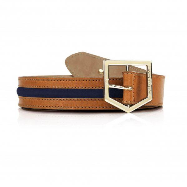 FAIRFAX & FAVOR Belt - Ladies Hampton - Tan Leather & Navy Suede