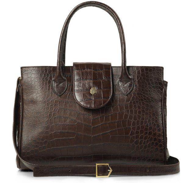 FAIRFAX & FAVOR Handbag - Ladies Langley Leather - Chocolate Croc Print