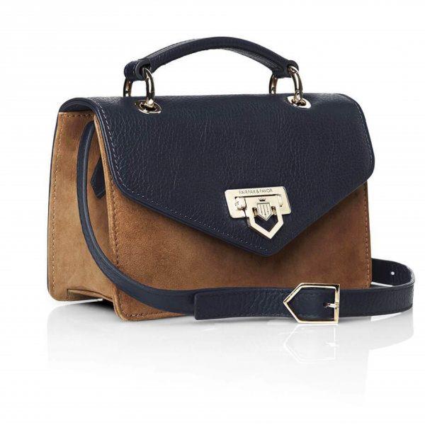 FAIRFAX & FAVOR Handbag - Ladies Loxley Mini Cross Body Leather & Suede - Navy & Tan