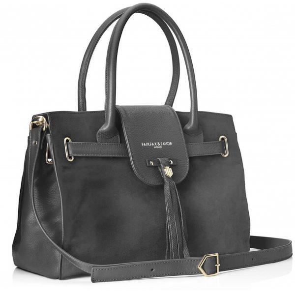 FAIRFAX & FAVOR Handbag - Ladies Windsor Leather & Suede - Grey