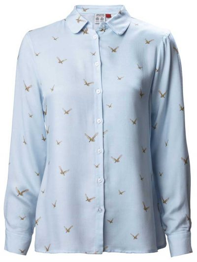 MUSTO Ladies Shirt - Country Barn Owl Print - Light Blue