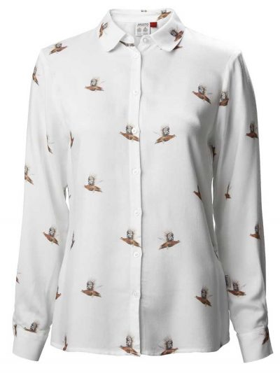 MUSTO Ladies Shirt - Country Grouse Print - White