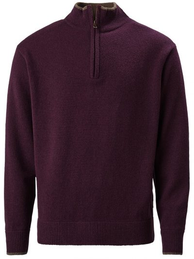 MUSTO Shooting Zip Neck - Mens Geelong Lambswool Knit - Damson