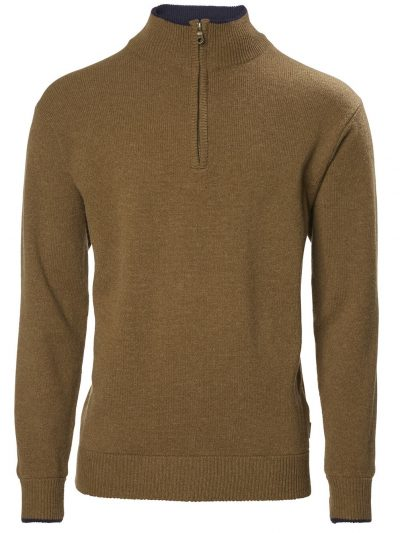 MUSTO Shooting Zip Neck - Mens Geelong Lambswool Knit - Toffee