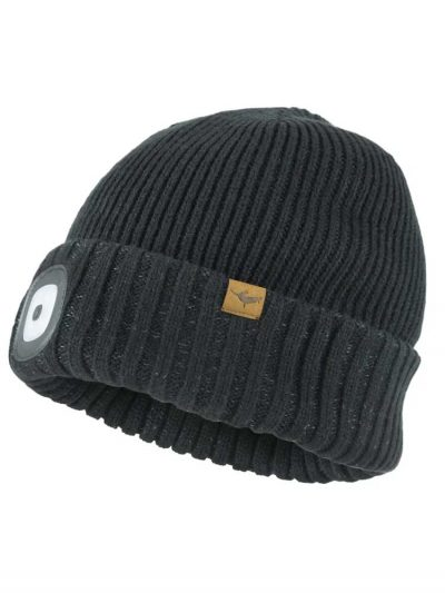 SEALSKINZ Hat - Waterproof Cold Weather LED Roll Cuff Beanie - Black