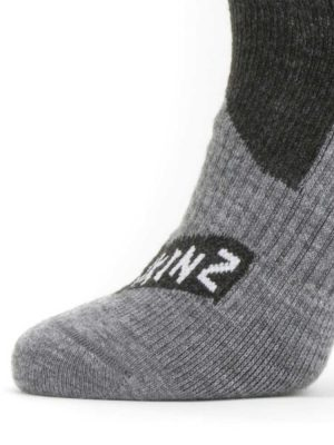 SEALSKINZ Socks - Waterproof All Weather Mid Length - Black & Grey